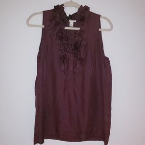 J. Crew Burgundy 100% Silk Sleeveless Top Sz 10